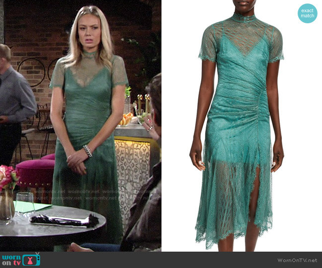 Jonathan Simkhai Sateen Lingerie Lace Short-Sleeve Front-Slit Dress worn by Abby Newman (Melissa Ordway) on The Young & the Restless