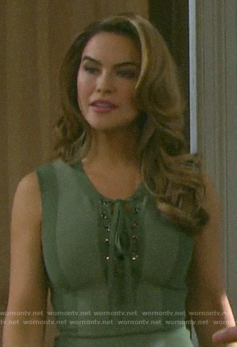 Jordan's green lace-up dress on Days of our Lives
