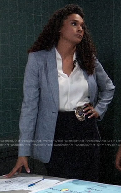 Jordan's blue blazer on General Hospital