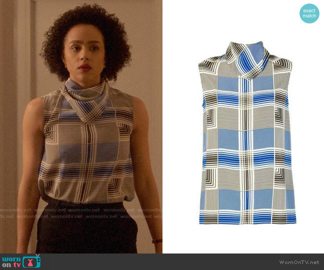 Joseph Scarf Neck Blouse worn by Maya (Nathalie Emmanuel) on Four Weddings & a Funeral