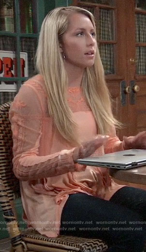 Josslyn's orange embroidered top on General Hospital
