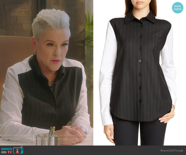 Garda Pinstripe Mixed Media Blouse by Judith & Charles worn by Christine Elise  on BH90210
