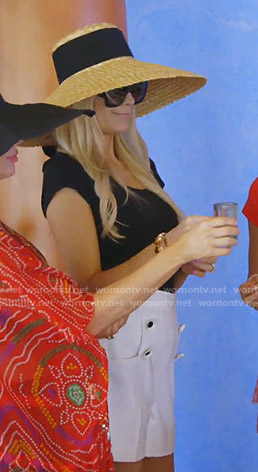Kameron's white shorts and straw hat on The Real Housewives of Dallas