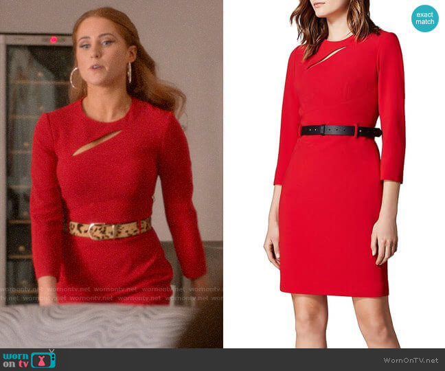 Karen Millen Cutout Belted Sheath Dress worn by Zara (Sophia La Porta) on Four Weddings & a Funeral