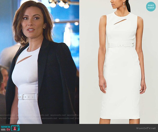Cutout Belted Crepe Dress by Karen Millen worn by Quinn (Laura Benanti) on Younger