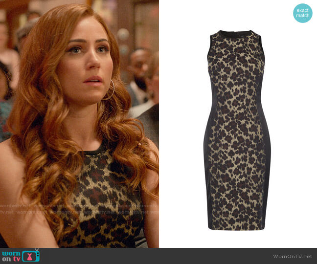 Karen Millen Leopard Bodycon Dress worn by Zara (Sophia La Porta) on Four Weddings & a Funeral