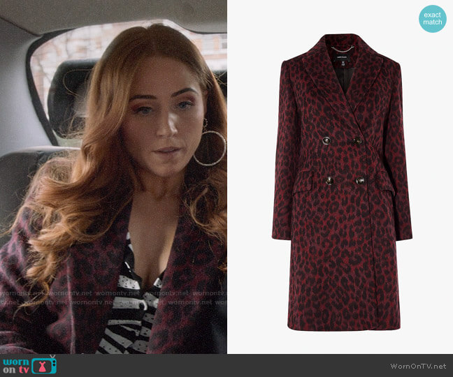 Karen Millen Leopard Print Tailored Coat worn by Zara (Sophia La Porta) on Four Weddings & a Funeral