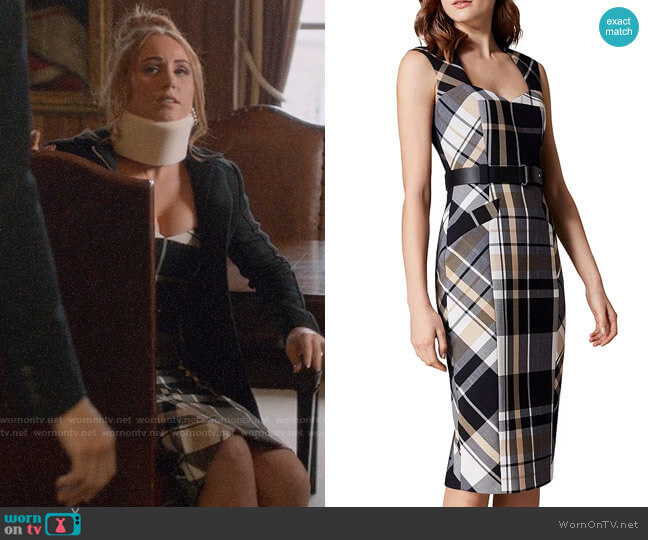 Karen Millen Belted Check Sheath Dress worn by Zara (Sophia La Porta) on Four Weddings & a Funeral