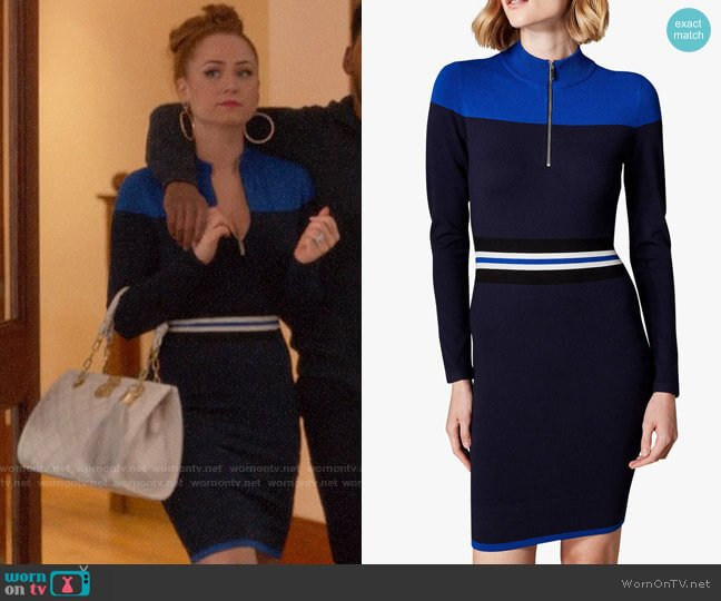 Karen Millen Sporty Stripe Knitted Dress worn by Zara (Sophia La Porta) on Four Weddings & a Funeral