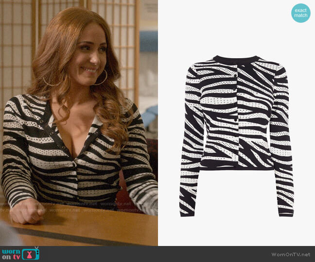 Karen Millen Zebra Print Cardigan worn by Zara (Sophia La Porta) on Four Weddings & a Funeral