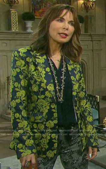 Kate's blue and yellow floral blazer on Days of our Lives
