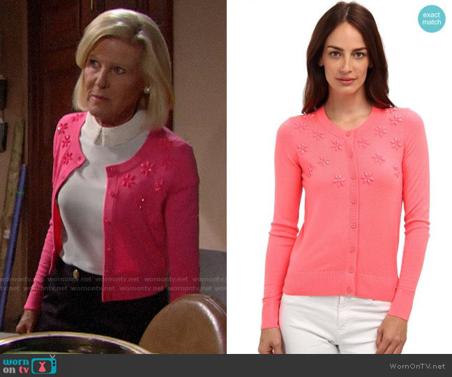 Kate Spade Floral Cluster Cardigan worn by Pamela Douglas (Alley Mills) on The Bold & the Beautiful