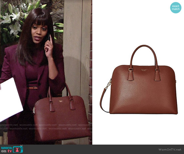 Kate Spade Sylvia Laptop Bag worn by Amanda Sinclair (Mishael Morgan) on The Young & the Restless