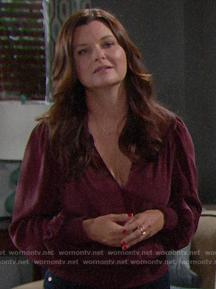 Katie's burgundy blouse on The Bold and the Beautiful