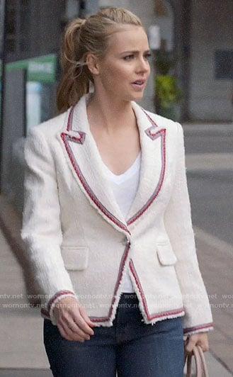 Katrina's white tweed blazer on Suits