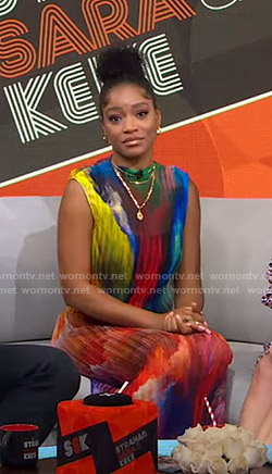 Keke's rainbow pleated dress on GMA Strahan Sara And Keke