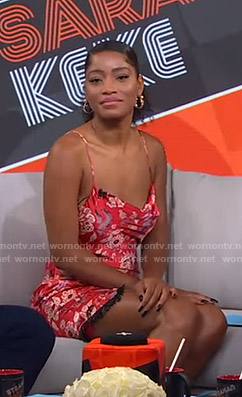 Keke's red floral mini dress on GMA Strahan Sara And Keke