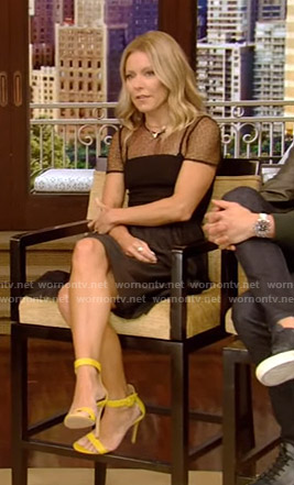 Kelly's black mesh top dress on Live with Kelly and Ryan