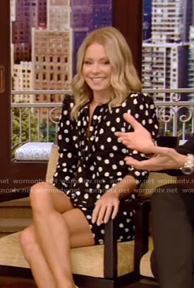 Kelly's black polka dot dress on Live with Kelly and Ryan