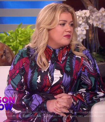 Kelly's satin feather print dress on The Kelly Clarkson Show