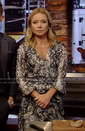Kelly's snake print v-neck dress on Live with Kelly and Ryan