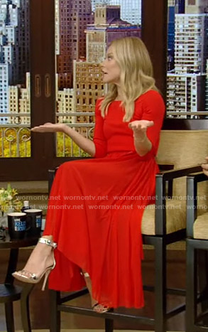 Kelly's red belted maxi dress on Live with Kelly and Ryan