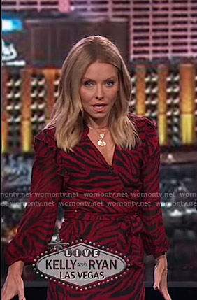 Kelly's red zebra print wrap dress on Live with Kelly and Ryan
