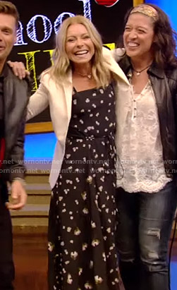 Kelly's black floral dress on Live with Kelly and Ryan