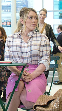 Kelsey's plaid shirt and pink leather skirt on Younger