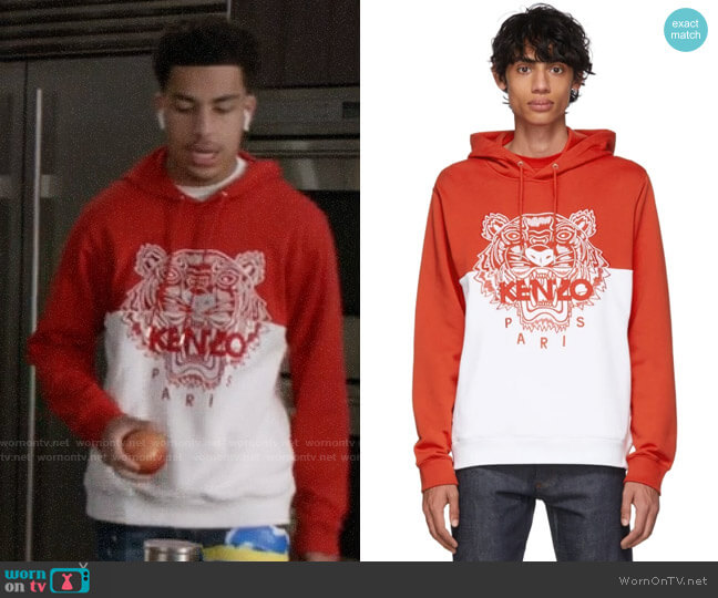Kenzo Limited Edition Colorblock Tiger Hoodie worn by Andre Johnson Jr (Marcus Scribner) on Blackish