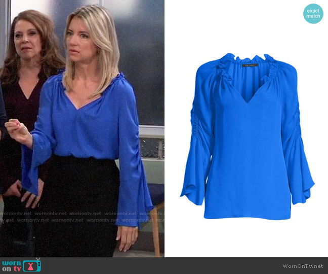 Kobi Halperin Carolina Top in Twilight worn by Nina Reeves (Cynthia Watros) on General Hospital