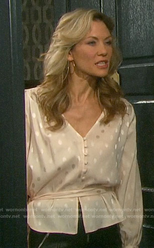 Kristen's belted polka dot top on Days of our Lives