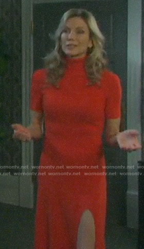 Kristen's red turtleneck dress on Days of our Lives