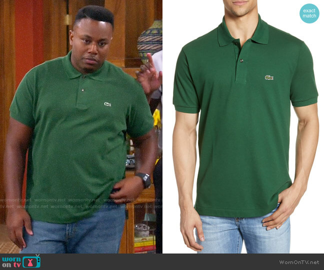 Lacoste L1212 Regular Fit Piqué Polo worn by Marty (Marcel Spears) on The Neighborhood