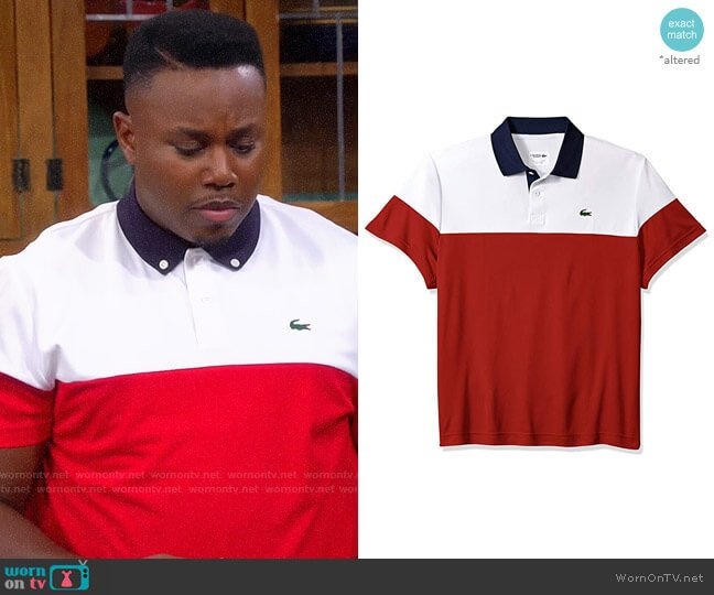 Lacoste Color Blocked Polo worn by Marty on The Neighborhood worn by Marty (Marcel Spears) on The Neighborhood