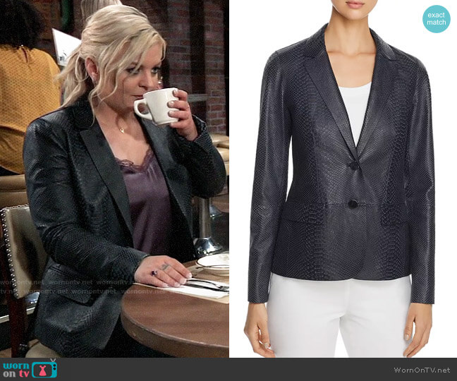 Lafayette 148 New York Camden Snake-Embossed Leather Blazer worn by Maxie Jones (Kirsten Storms) on General Hospital