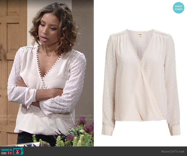L'Agence Perry Blouse worn by Elena Dawson (Brytni Sarpy) on The Young & the Restless