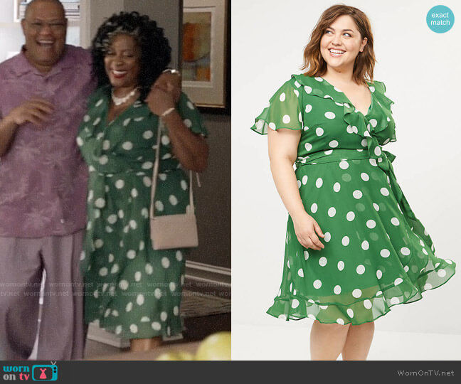 Lane Bryant Chiffon Faux-Wrap Fit & Flare Dress worn by Lynette on Black-ish