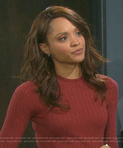 Lani's red ribbed sweater on Days of our Lives