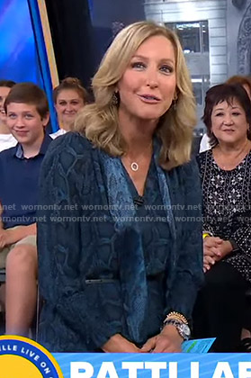 Lara's blue snake print tie neck dress on Good Morning America