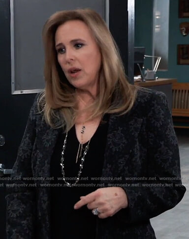 Laura's black damask print blazer on General Hospital