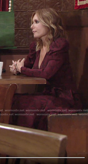 Lauren's red snake print dress on The Young and the Restless