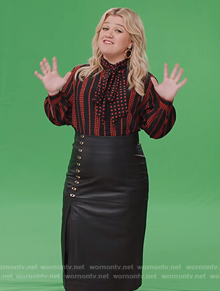 Kelly's star print blouse and leather skirt on The Kelly Clarkson Show