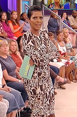 Tamron's leopard bodycon dress on the Tamron Hall Show
