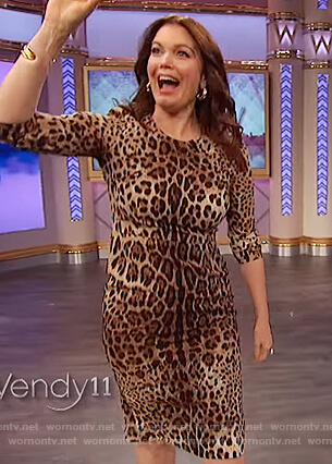 Bellamy Young's leopard print dress on The Wendy Williams Show