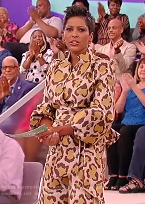 Tamron's leopard wrap blouse and pants on the Tamron Hall Show