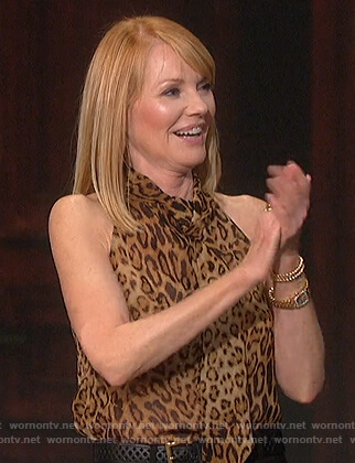 Marg Helgenberger's leopard tie neck blouse on The Talk