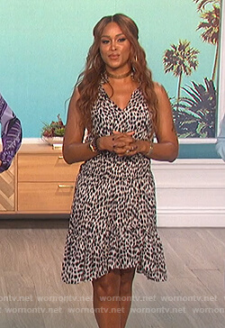 Eve's leopard smocked dress on The Talk