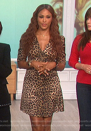 Eve's leopard print button down dress on The Talk