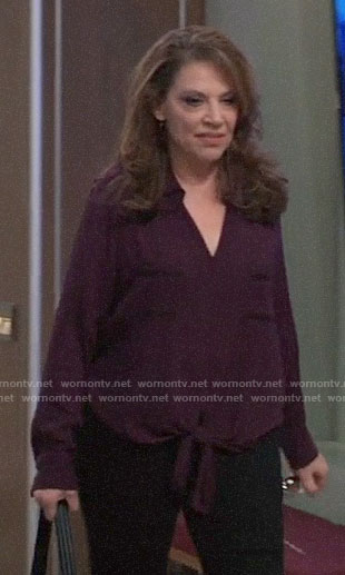Liesl's purple tie front top on General Hospital